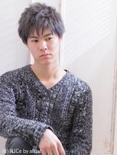 鬼ちゃん風柔らかグレージュカラーショートメンズ AKI-267