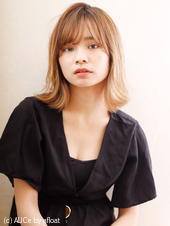小顔カット シースルー柔らかバング♡外ハネボブ M-159