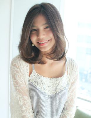 大人きれい前髪長めミディアムスタイル(SY-545)